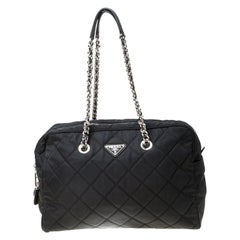 Prada Black Quilted Nylon Shoulder Bag