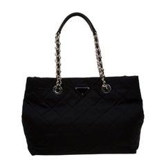 Prada Black Quilted Nylon Shoulder Bag
