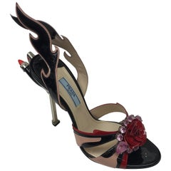 PRADA Black & Red Couture Jeweled Taillight Heels-37.5
