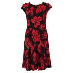 PRADA black & red FLORAL CAP SLEEVE Dress 40