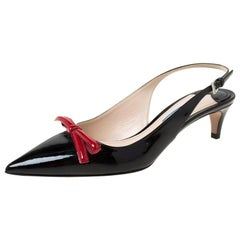 Prada Black/Red Patent Leather Bow Pointed Toe Slingback Sandals Size 38