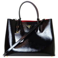Prada Black/Red Saffiano Vernice Shiny Leather Double Handle Tote Bag w/ Strap