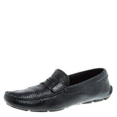 Prada Black Reptile Leather Penny Loafers Size 42