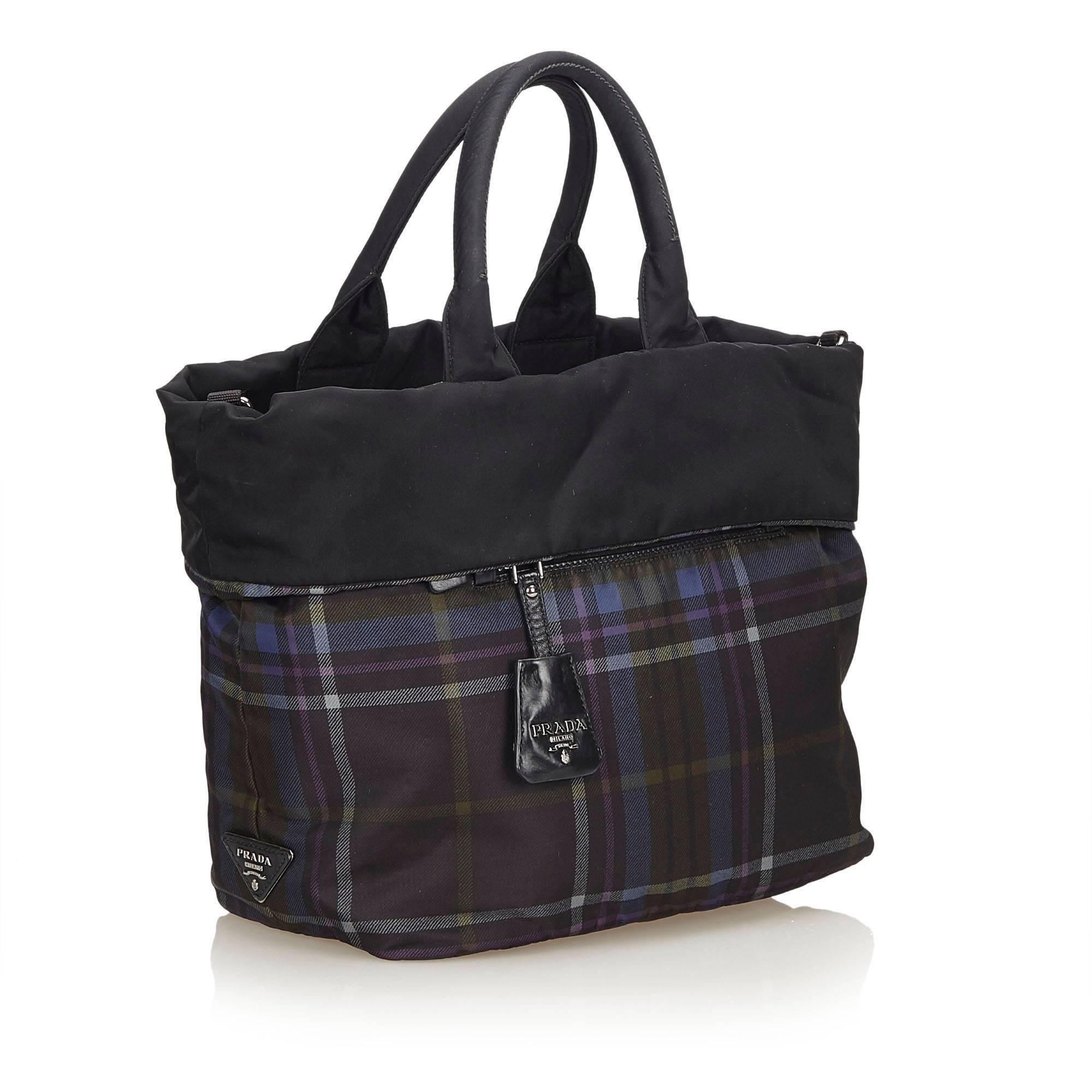 ec65a4775e Prada Black Reversible Plaid Nylon Tote Bag at 1stdibs