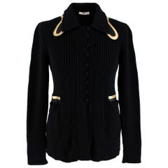 Prada Black Ribbed Knitted Cardigan with Gold Leather Trim - Size US 6