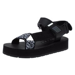 Prada Black  Rubber and Leather Trim Logo Platform Sandals Size 35