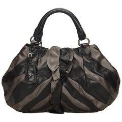 Prada Black Ruffled Mordore Leather Hobo Bag