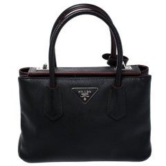 Prada Black Saffiano Cuir Leather Twin Bag
