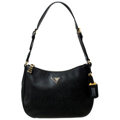 Prada Black Saffiano Leather Baguette Shoulder Bag