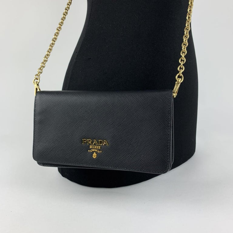 Women's Prada Black Saffiano Leather Continental Wallet on Chain 1DH029 For Sale