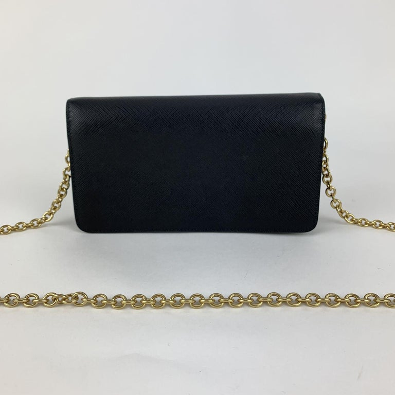 Prada Black Saffiano Leather Continental Wallet on Chain 1DH029 For Sale 1