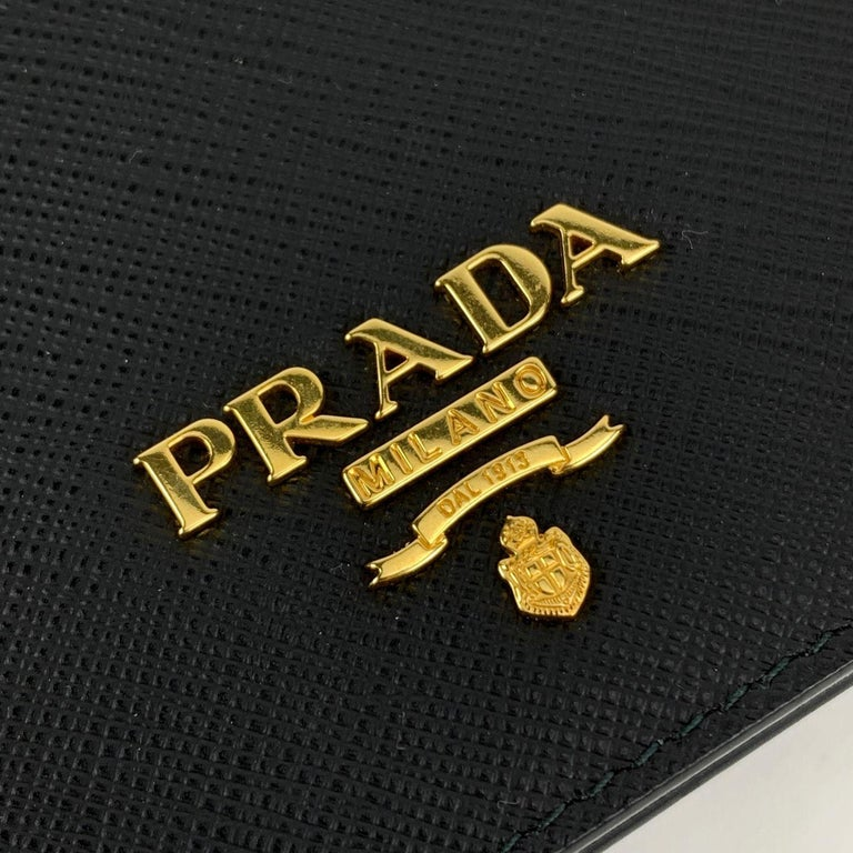 Prada Black Saffiano Leather Continental Wallet on Chain 1DH029 For Sale 2