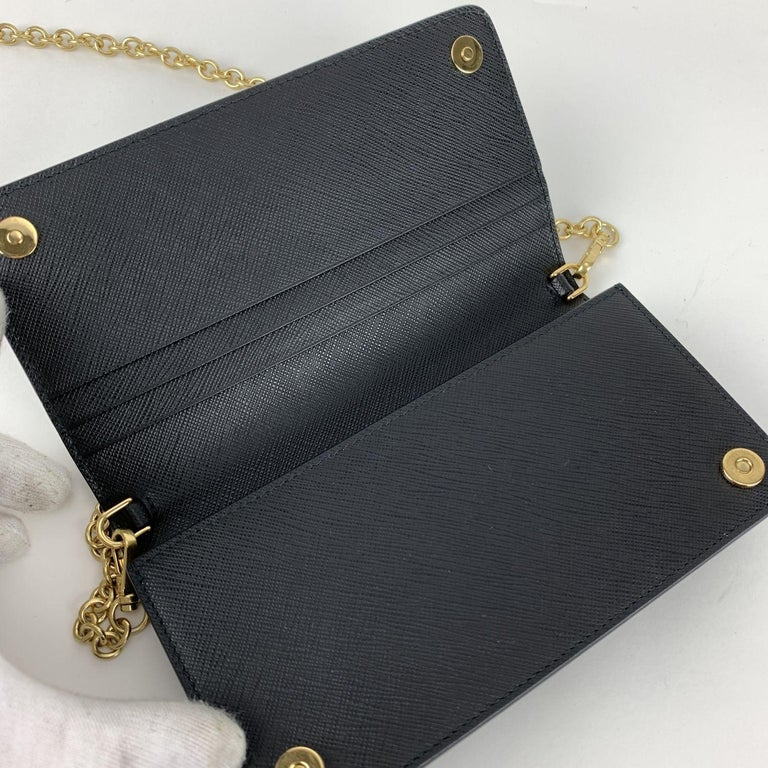 Prada Black Saffiano Leather Continental Wallet on Chain 1DH029 For Sale 3