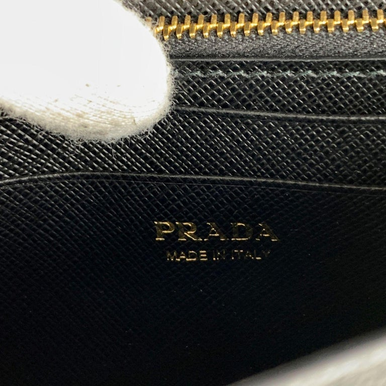 Prada Black Saffiano Leather Continental Wallet on Chain 1DH029 For Sale 5