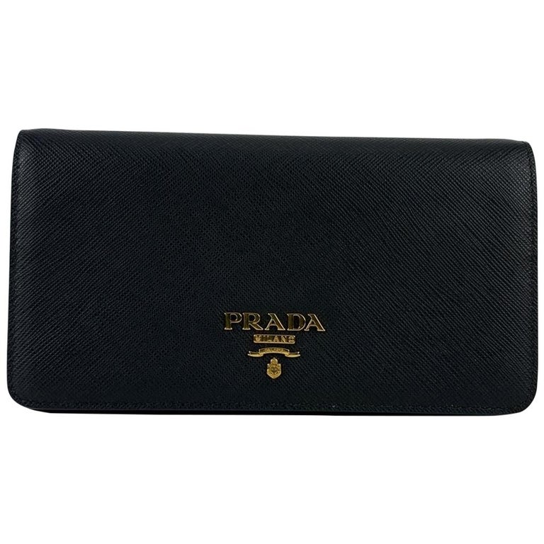Prada Black Saffiano Leather Continental Wallet on Chain 1DH029 For Sale