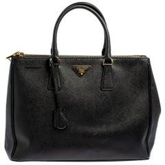 Prada Black Saffiano Leather Double Zip Tote