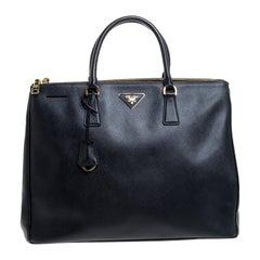 Prada Black Saffiano Leather Executive Double Zip Tote