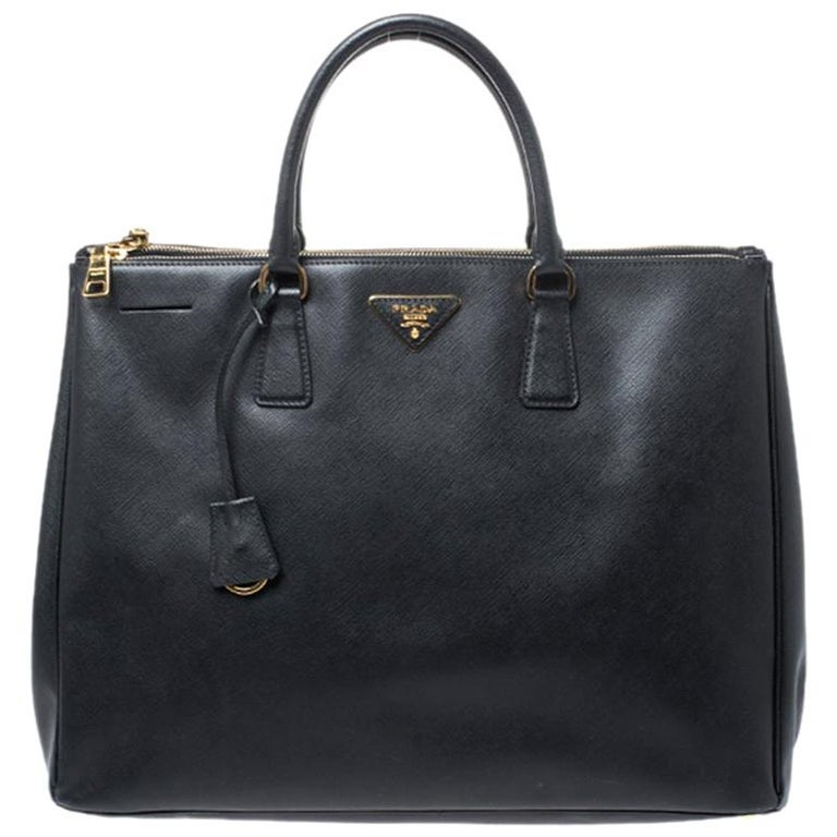 Prada Black Saffiano Leather Executive Double Zip Tote For Sale