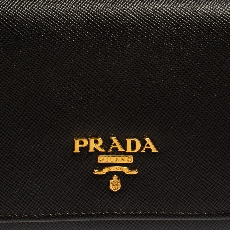 Prada Black Saffiano Leather Flap Continental Wallet For Sale 4