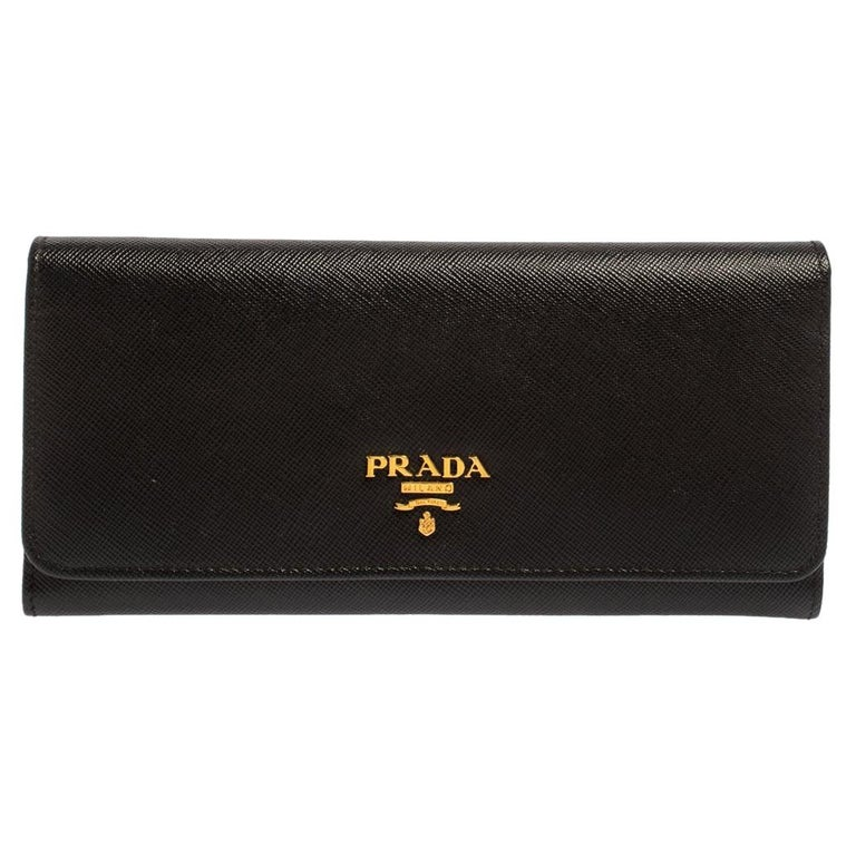 Prada Black Saffiano Leather Flap Continental Wallet For Sale