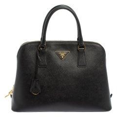 Prada Black Saffiano Leather Large Promenade Satchel