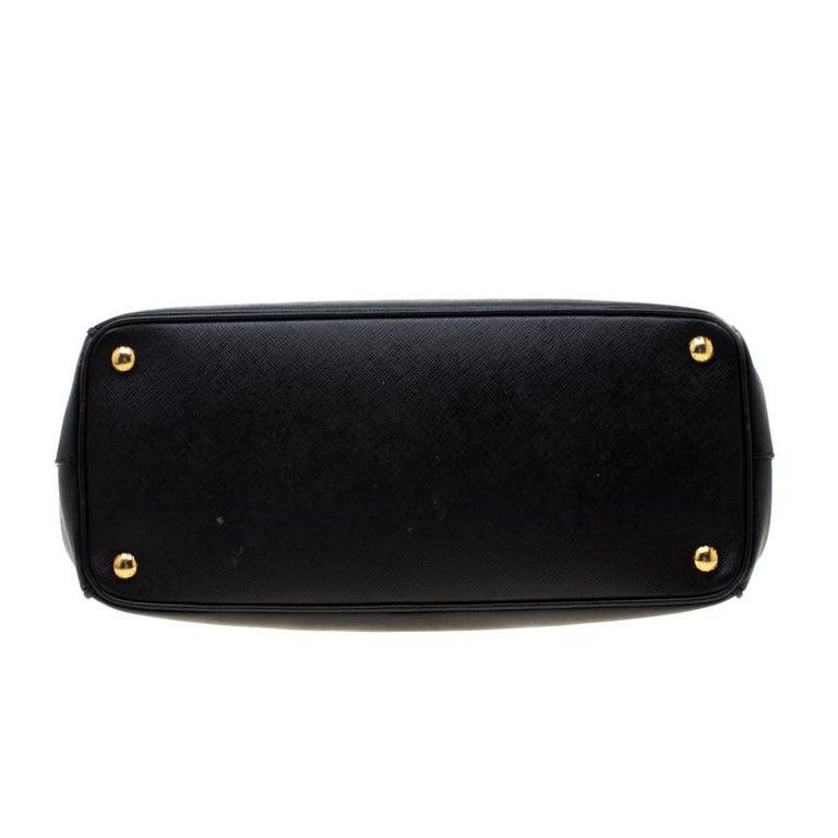 Prada Black Saffiano Leather Medium Double Zip Tote For Sale 6