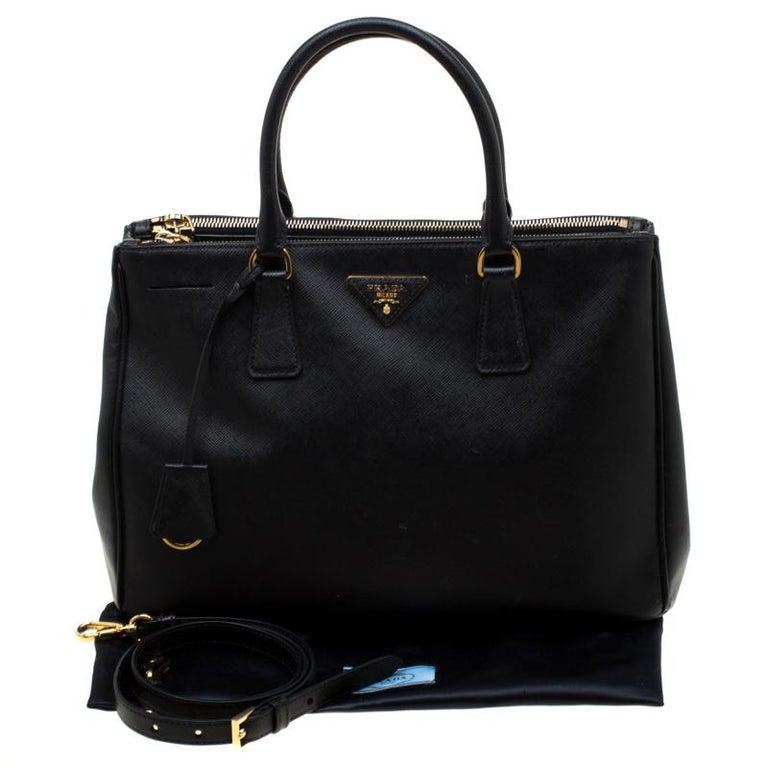 Prada Black Saffiano Leather Medium Double Zip Tote For Sale 7
