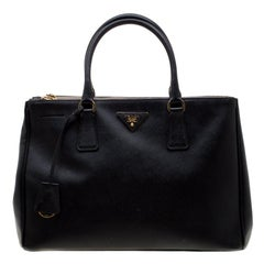 Prada Black Saffiano Leather Medium Double Zip Tote