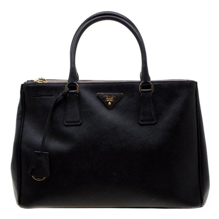 Prada Black Saffiano Leather Medium Double Zip Tote For Sale