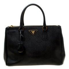 Prada Black Saffiano Leather Medium Double Zip Tote
