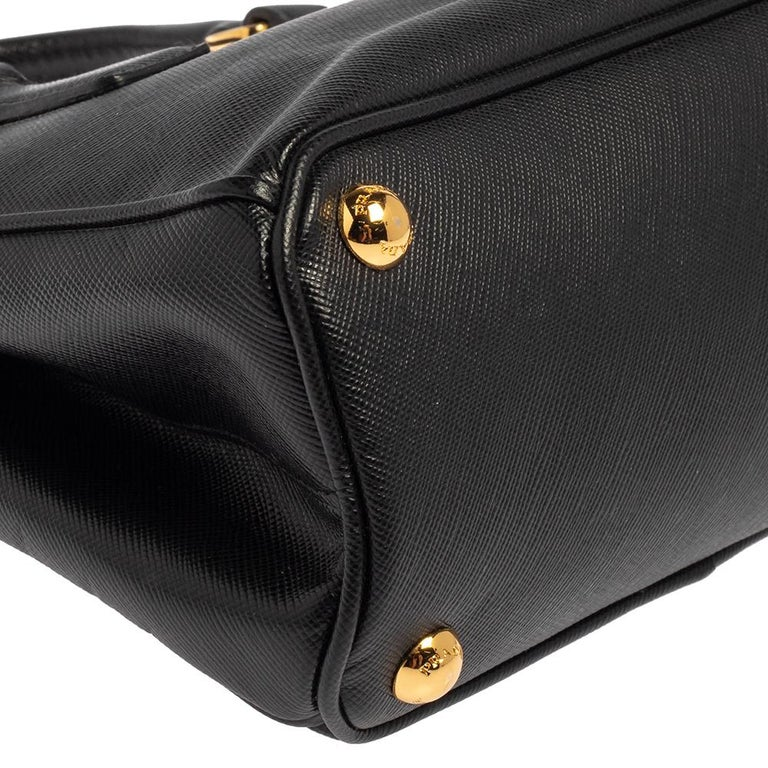 Prada Black Saffiano Leather Mini Double Zip Crossbody Bag For Sale 6