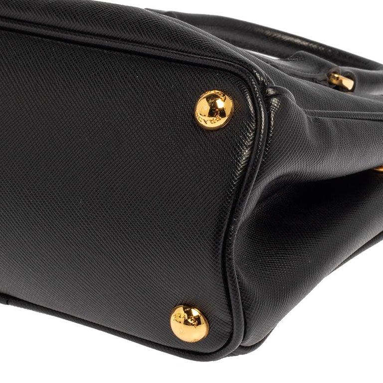 Prada Black Saffiano Leather Mini Double Zip Crossbody Bag For Sale 7