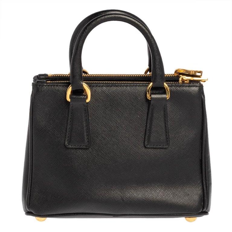Women's Prada Black Saffiano Leather Mini Double Zip Crossbody Bag For Sale