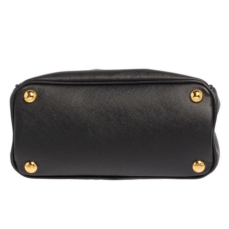 Prada Black Saffiano Leather Mini Double Zip Crossbody Bag For Sale 1