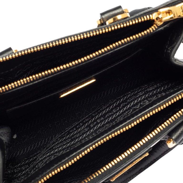 Prada Black Saffiano Leather Mini Double Zip Crossbody Bag For Sale 2
