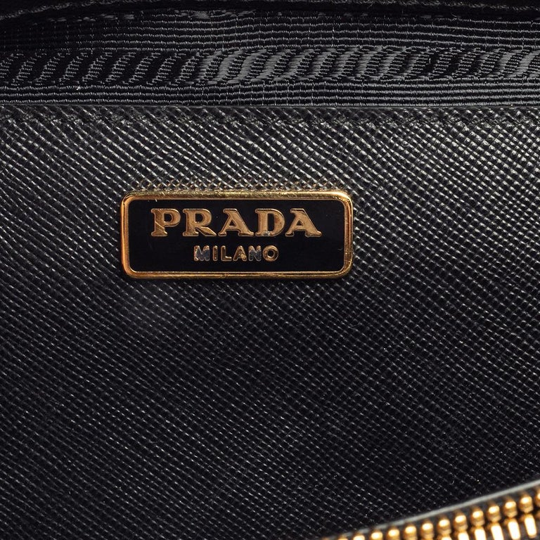 Prada Black Saffiano Leather Mini Double Zip Crossbody Bag For Sale 3