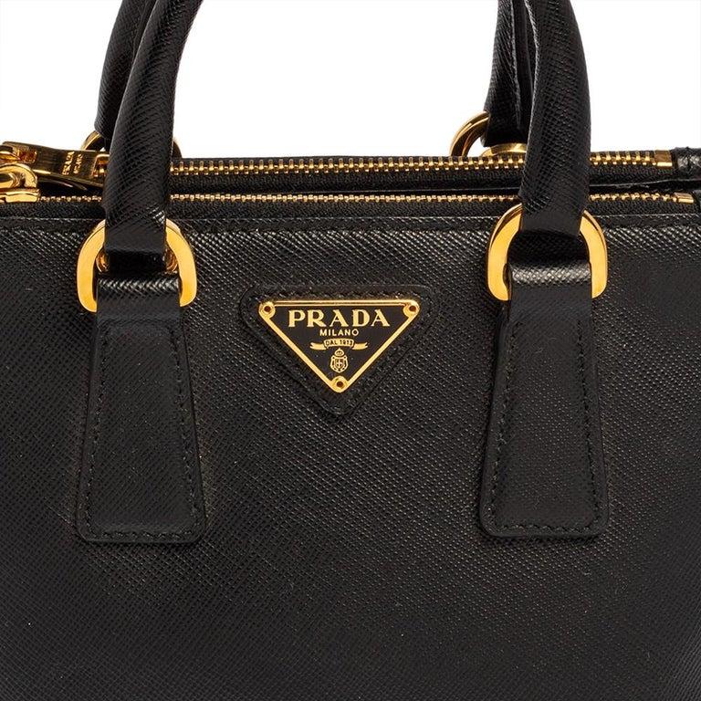 Prada Black Saffiano Leather Mini Double Zip Crossbody Bag For Sale 4