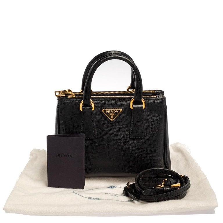 Prada Black Saffiano Leather Mini Double Zip Crossbody Bag For Sale 5