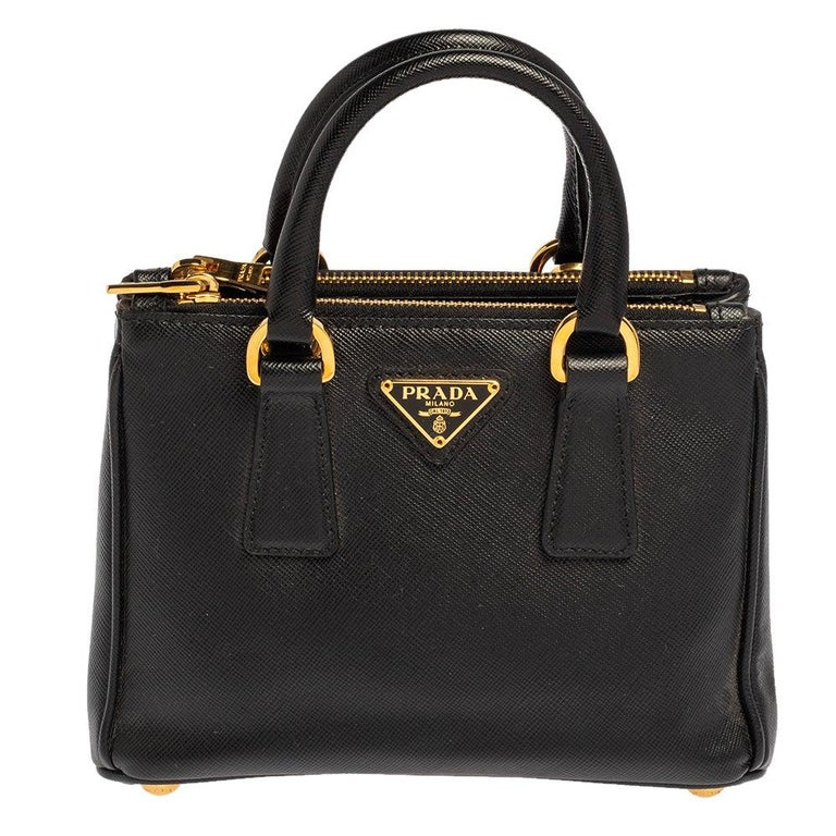 Prada Black Saffiano Leather Mini Double Zip Crossbody Bag For Sale