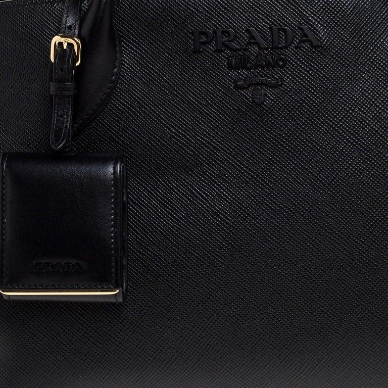 Prada Black Saffiano Leather Monochrome Tote For Sale 2