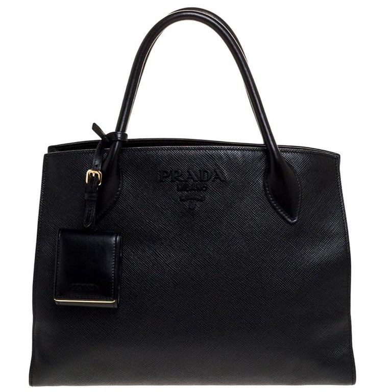 Prada Black Saffiano Leather Monochrome Tote For Sale