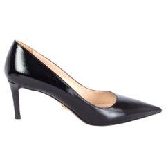 PRADA black Saffiano leather Pointed-Toe Pumps Shoes 38