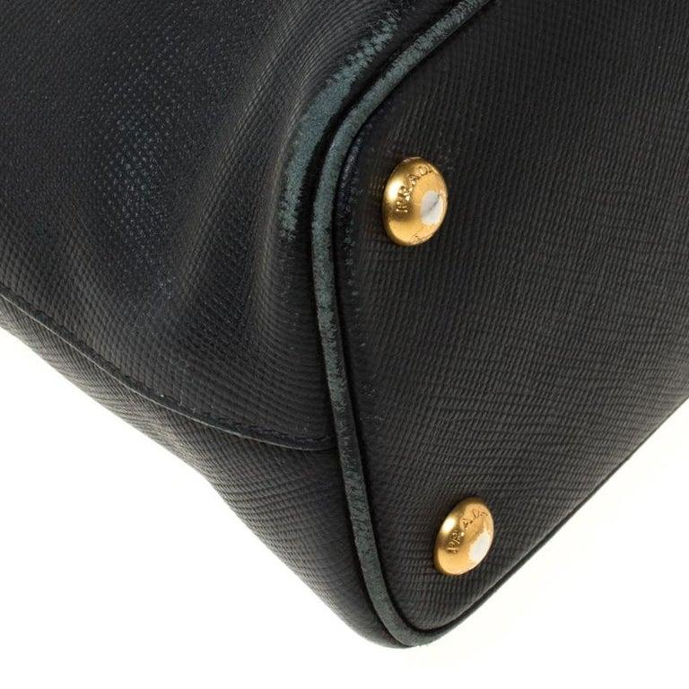 Prada Black Saffiano Leather Promenade Satchel For Sale 6
