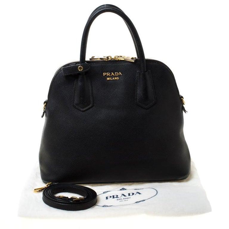 Prada Black Saffiano Leather Promenade Satchel For Sale 8