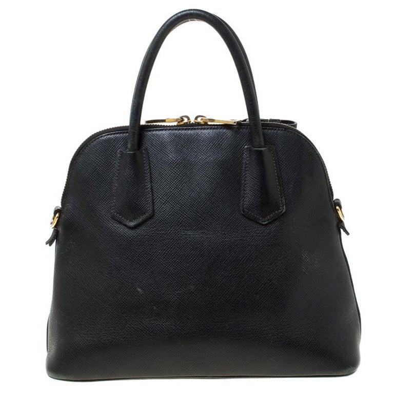 Prada Black Saffiano Leather Promenade Satchel For Sale 3