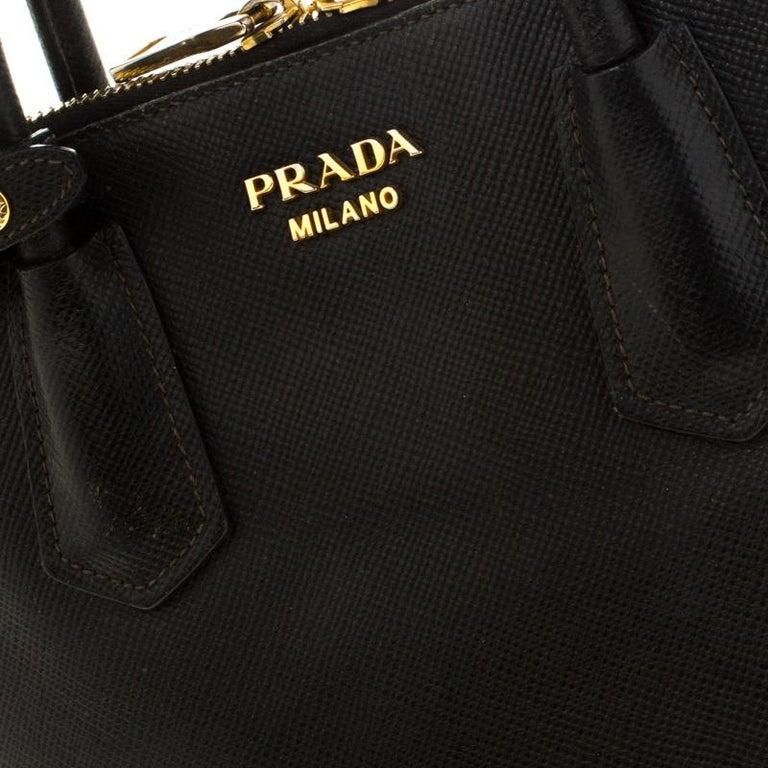 Prada Black Saffiano Leather Promenade Satchel For Sale 4