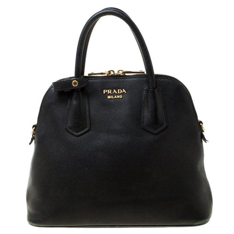 Prada Black Saffiano Leather Promenade Satchel For Sale