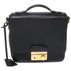 Prada Black Saffiano Leather Small Sound Crossbody Bag