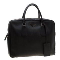 Prada Black Saffiano Leather Travel Briefcase Bag