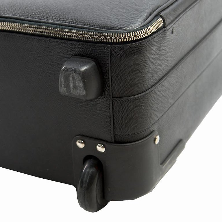 2d7b6df7620a Prada Black Saffiano Leather Trolley Rolling Luggage For Sale at 1stdibs